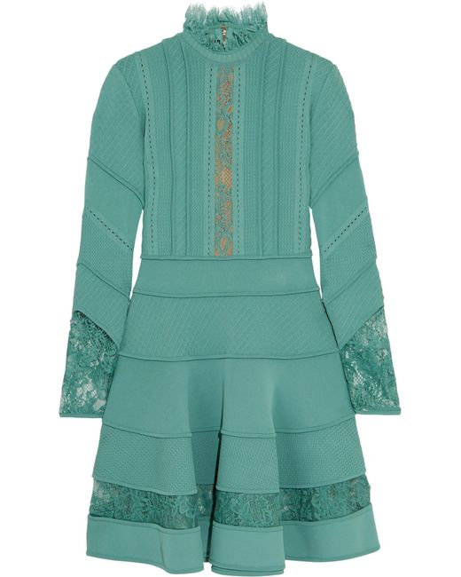 Elie Saab | Blue Lace-trimmed Knitted Dress | Lyst