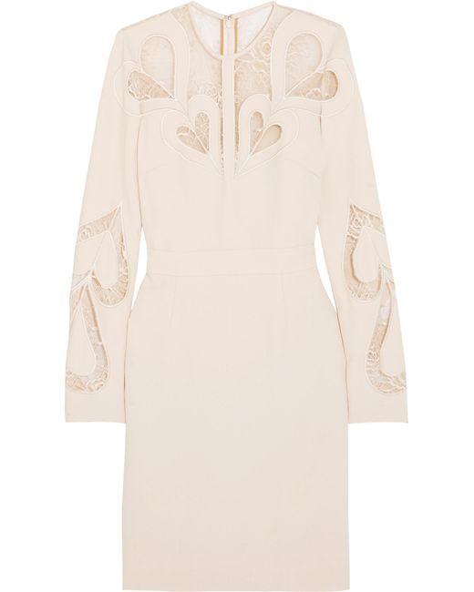 Elie Saab   White Lace-paneled Crepe Dress   Lyst