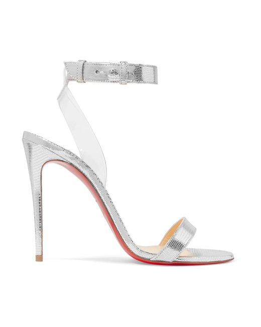Christian Louboutin | Jonatina 100 Metallic Lizard-effect Leather And Pvc Sandals | Lyst