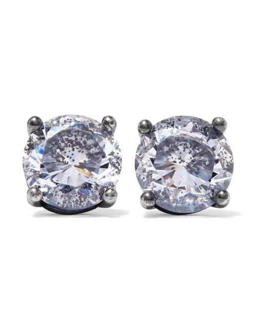 Bottega Veneta   Metallic Oxidized Silver Cubic Zirconia Earrings   Lyst