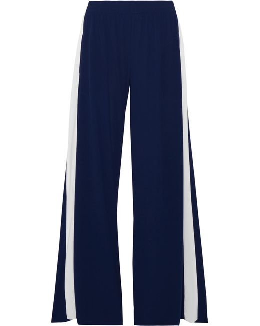 Norma Kamali | Blue Striped Stretch-jersey Wide-leg Pants | Lyst