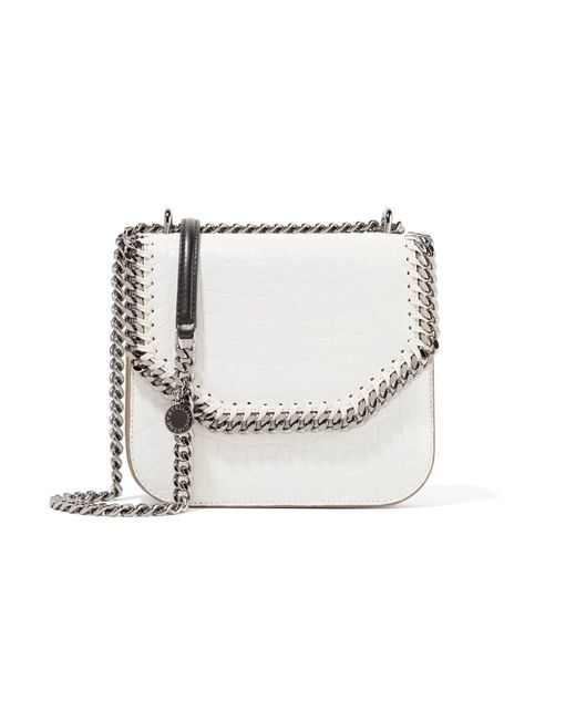 Stella McCartney | White The Falabella Box Small Croc-effect Faux Leather Shoulder Bag | Lyst
