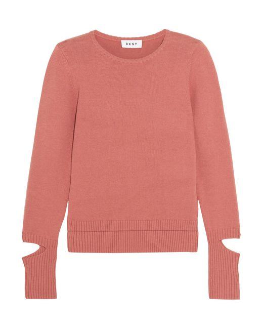 DKNY | Pink Cutout Cotton-blend Sweater | Lyst