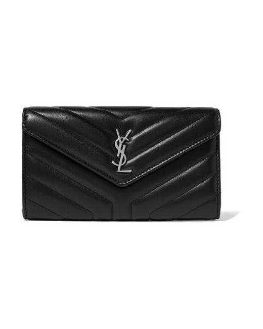 Saint Laurent Black Quilted Textured-leather Wallet