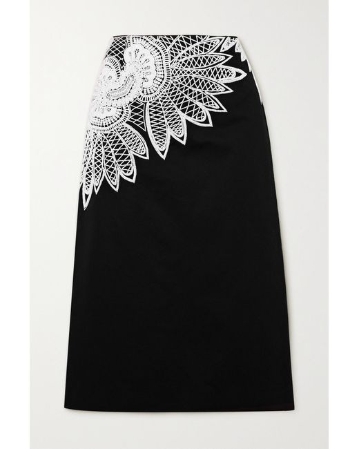 Dries Van Noten Black Beaded Embroidered Cotton-cady Skirt