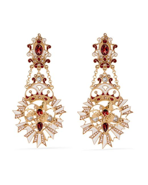 Percossi Papi - Metallic Gold-plated And Enamel Multi-stone Earrings - Lyst
