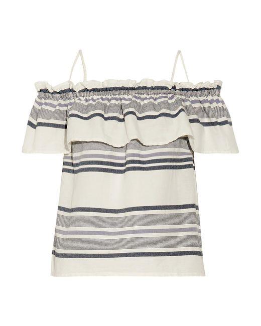 Splendid | Multicolor Off-the-shoulder Ruffled Striped Cotton-gauze Top | Lyst