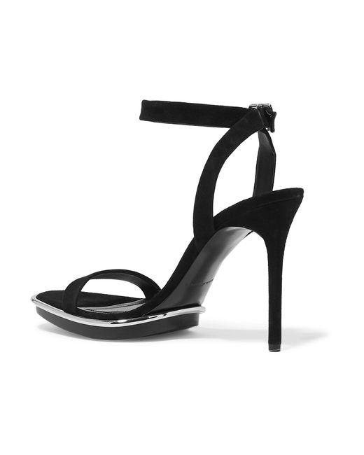 81b950681fe ... Alexander Wang - Black Cady Metallic-trimmed Suede Platform Sandals -  Lyst ...