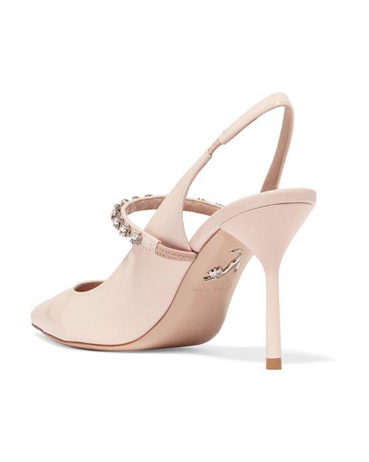 88390b0b456 ... Miu Miu - Pink Crystal-embellished Patent-leather Slingback Pumps -  Lyst ...