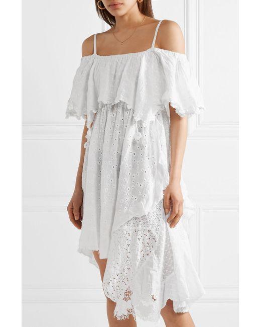 Bianca Cold-shoulder Paneled Cotton-blend Gauze Dress - White Anjuna JS6kUtbM