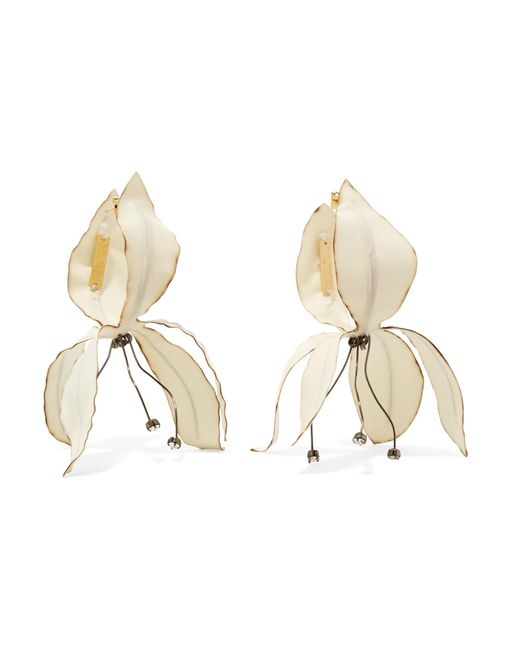 Marni | White Gunmetal And Gold-tone Crystal Earrings | Lyst