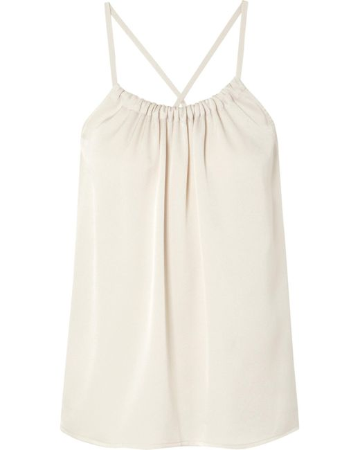Vince - White Gathered Satin-crepe Top - Lyst