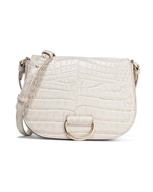 Little Liffner   Gray D Saddle Medium Croc-effect Leather Shoulder Bag   Lyst