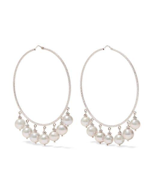 Carolina Bucci | Recharmed 18-karat White Gold Pearl Hoop Earrings | Lyst