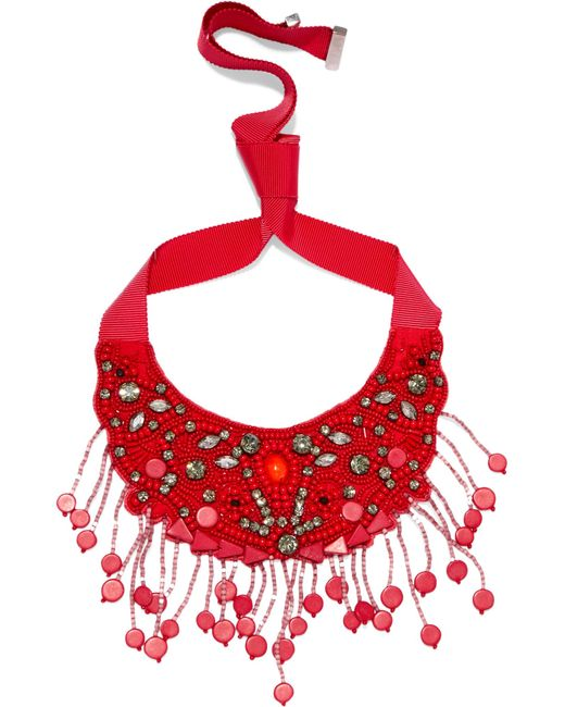 Etro | Red Grosgrain-trimmed Beaded Necklace | Lyst