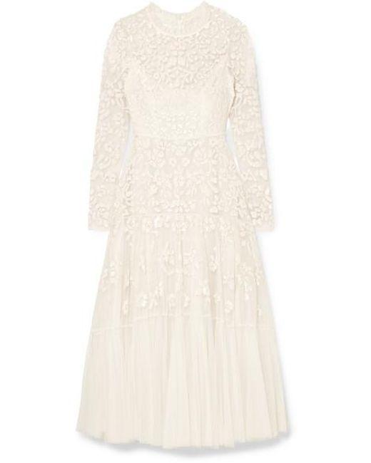 Robe De Mariée Midi En Tulle À Ornements Bella Needle & Thread en coloris White