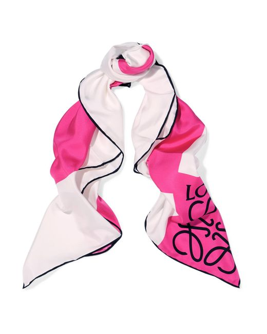 Loewe | Pink Anagram Color-block Silk-twill Scarf | Lyst