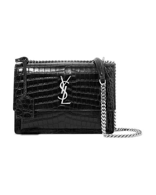Saint Laurent   Black Sunset Medium Croc-effect Leather Shoulder Bag   Lyst