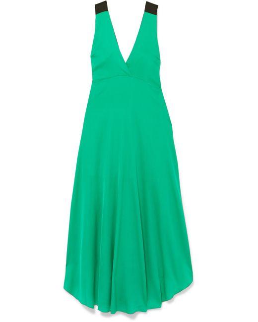 By Malene Birger - Green Taalia Embellished Stretch-silk Satin Maxi Dress - Lyst