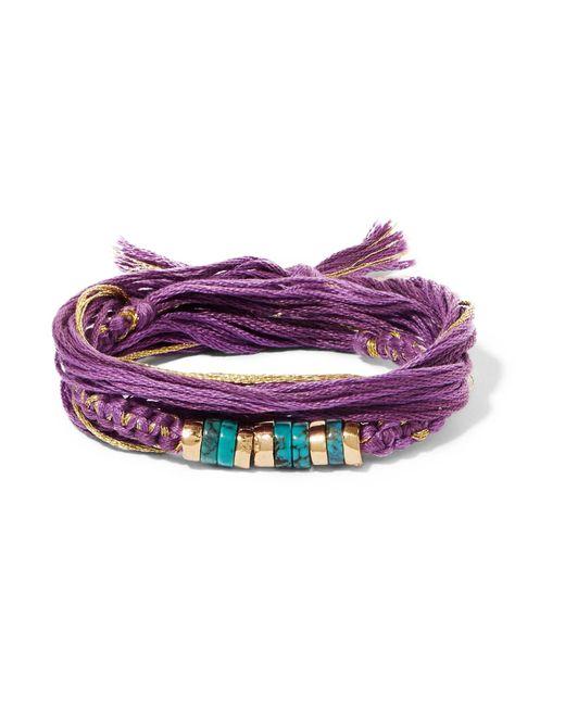 Aurelie Bidermann | Purple Takayama Cotton, Gold-plated And Turquoise Wrap Bracelet | Lyst