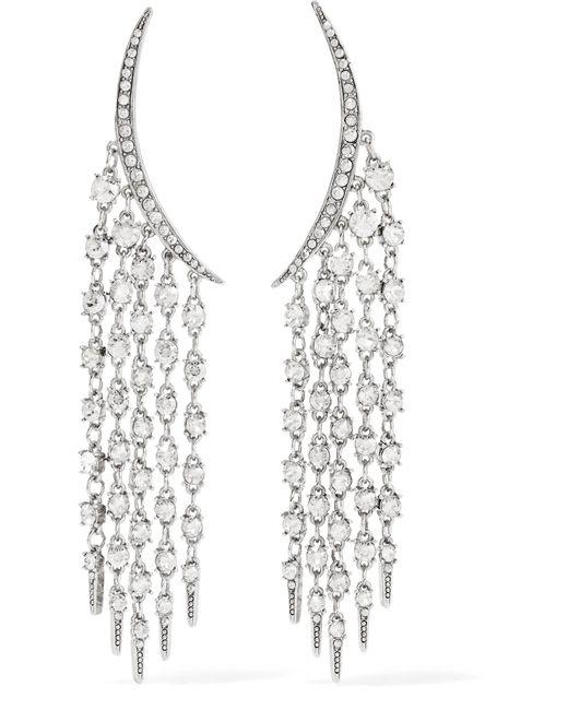 Oscar de la Renta   Metallic Tendril Silver-tone Crystal Earrings   Lyst