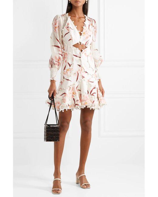 e908bd838c ... Zimmermann - White Corsage Pompom-embellished Cutout Floral-print Linen Mini  Dress - Lyst ...