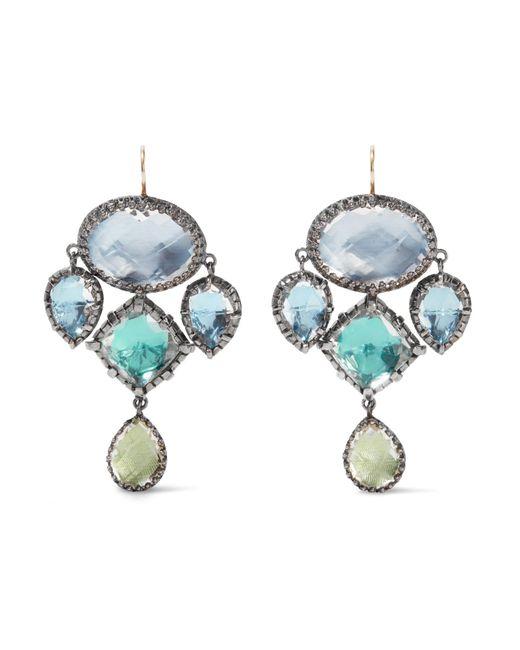 Larkspur & Hawk | Metallic Sadie Girandole Rhodium-dipped Quartz Earrings | Lyst