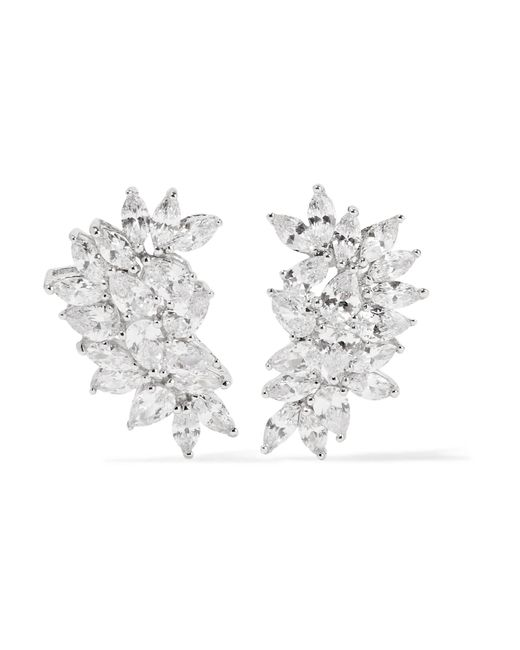 Kenneth Jay Lane | Metallic Rhodium-plated Cubic Zirconia Earrings | Lyst