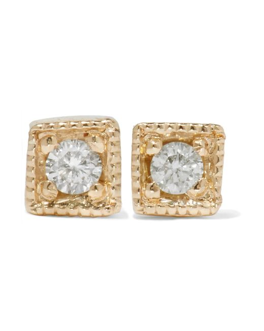 Jennie Kwon | Metallic Mini Square 14-karat Gold Diamond Earrings | Lyst