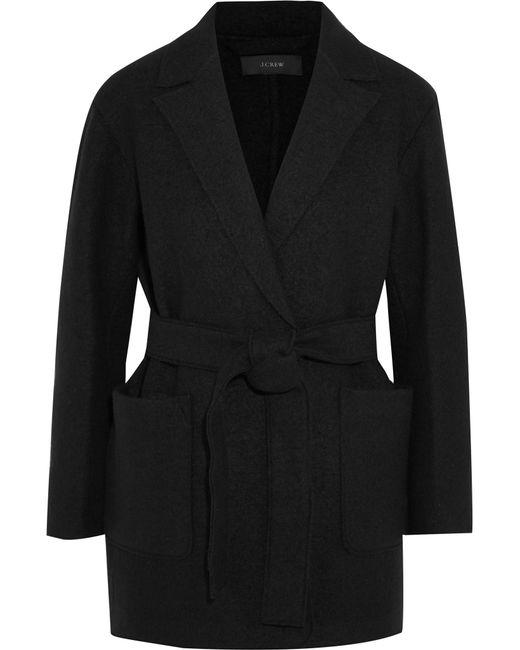 J.Crew | Black Sabrina Belted Boiled Wool Coat | Lyst