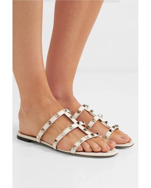 55abd1dd7aef ... Valentino - White Garavani The Rockstud Leather Sandals - Lyst ...