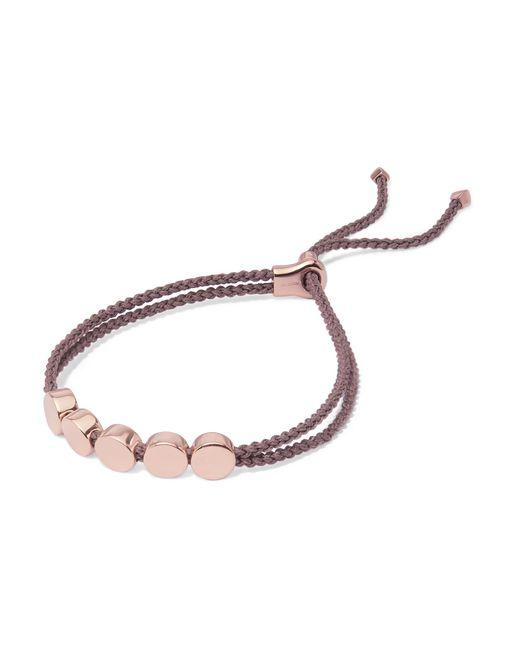 Monica Vinader | Metallic Linear Bead Rose Gold Vermeil And Woven Bracelet | Lyst