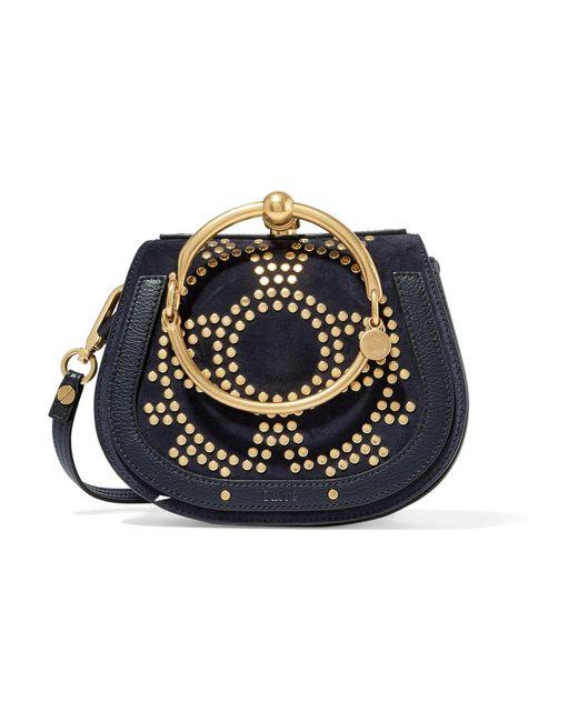 Chloé   Blue Nile Bracelet Small Embellished Textured-leather And Suede Shoulder Bag   Lyst