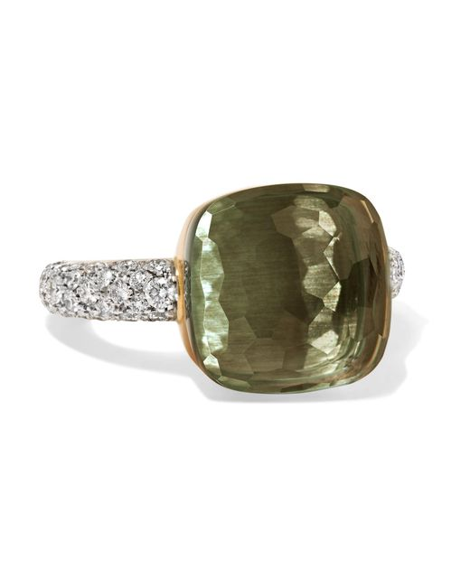 Pomellato | Metallic Nudo 18-karat Rose And White Gold, Prasiolite And Diamond Ring | Lyst