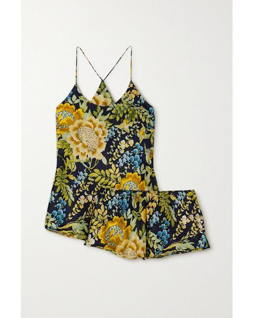 Olivia Von Halle Blue Bella Floral-print Silk-satin Pajama Set