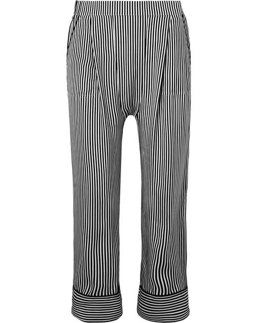 The Great - Black The Pyjama Cropped Striped Silk Wide-leg Pants - Lyst