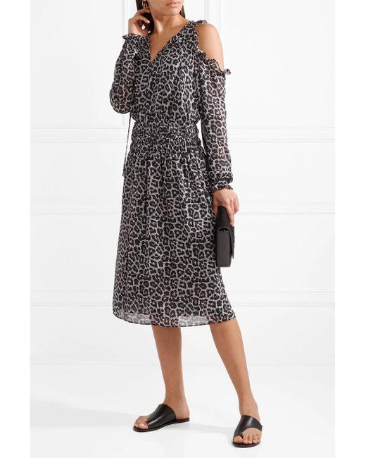 Cold-shoulder Printed Chiffon Midi Dress - Black Michael Kors GrNBrQBilu