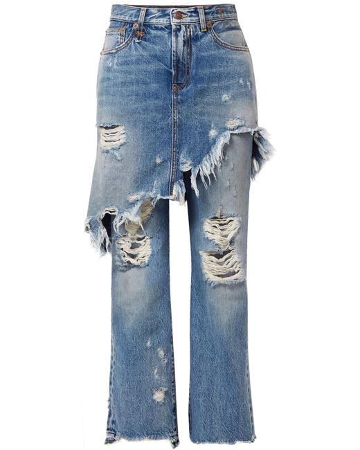 R13   Blue Double Classic Distressed Mid-rise Straight-leg Jeans   Lyst