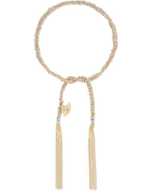 Carolina Bucci   Metallic Protection Lucky 18-karat Gold, Diamond And Silk Bracelet   Lyst