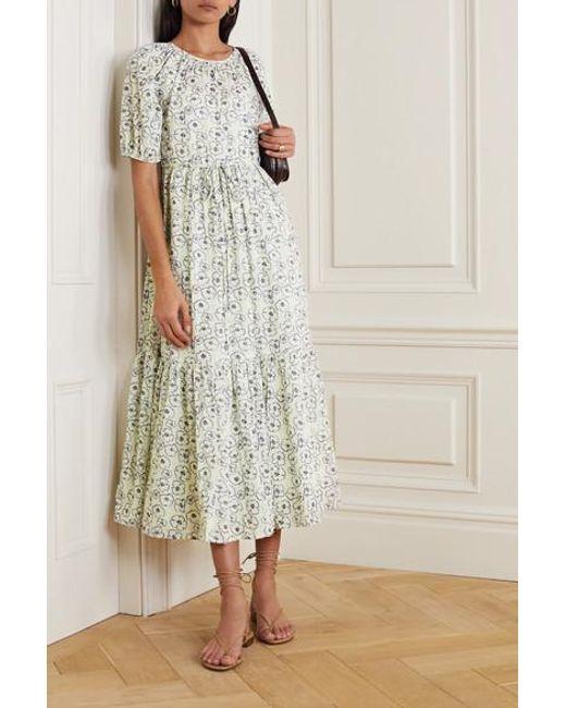 Apiece Apart White Simone Tiered Floral-print Organic Cotton Midi Dress