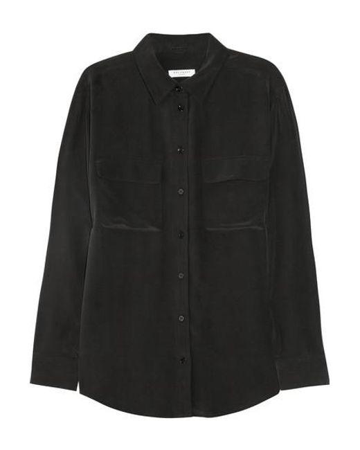 Equipment Black Signature Washed-silk Shirt