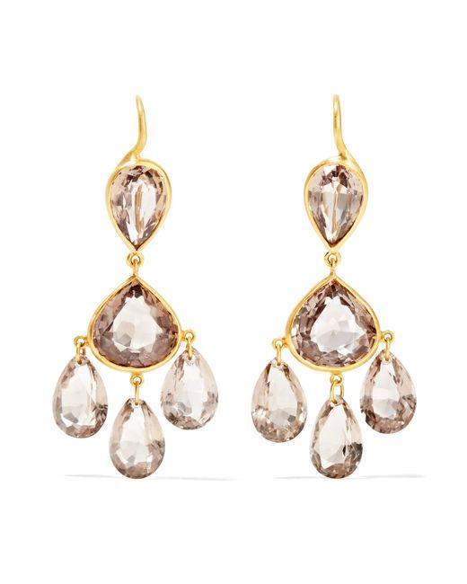 Marie-hélène De Taillac   Metallic Gabrielle D'estrées 22-karat Gold Quartz Earrings   Lyst