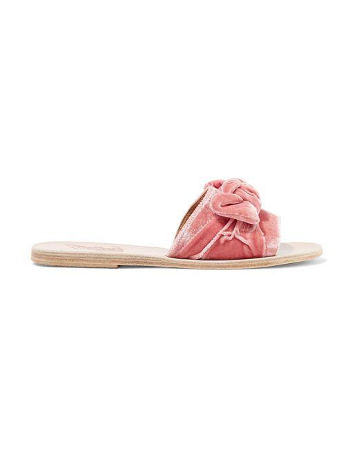 Ancient Greek Sandals - Pink Taygete Bow-embellished Velvet Slides - Lyst