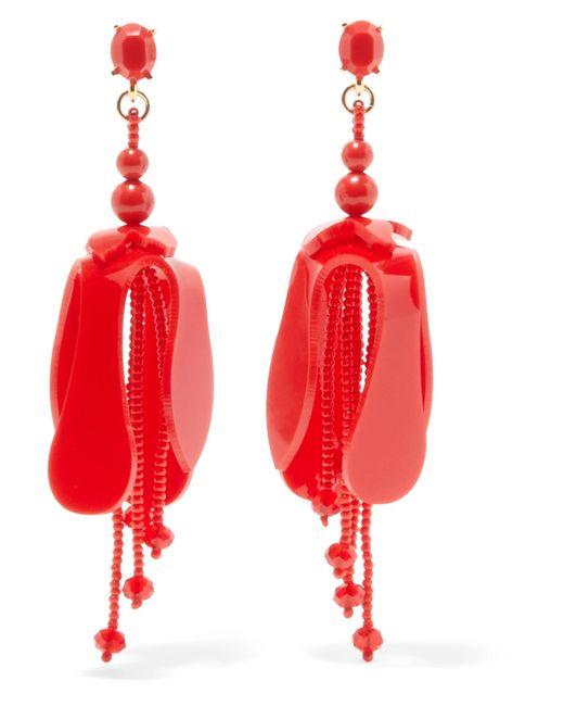 Oscar de la Renta - Red Orchid Beaded Acetate Earrings - Lyst