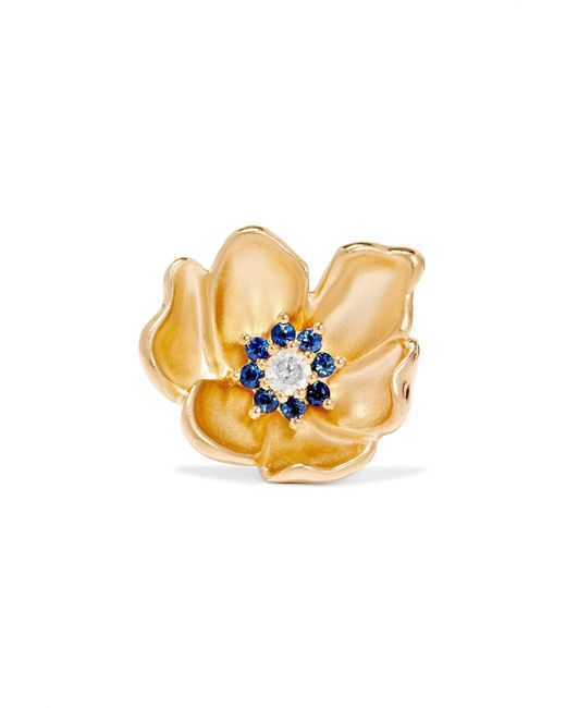 Yvonne Léon | Metallic 18-karat Gold, Sapphire And Diamond Earring | Lyst