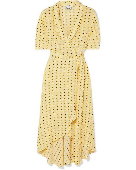 Ganni Yellow Midi-wickelkleid Aus Crêpe De Chine Mit Blumenprint