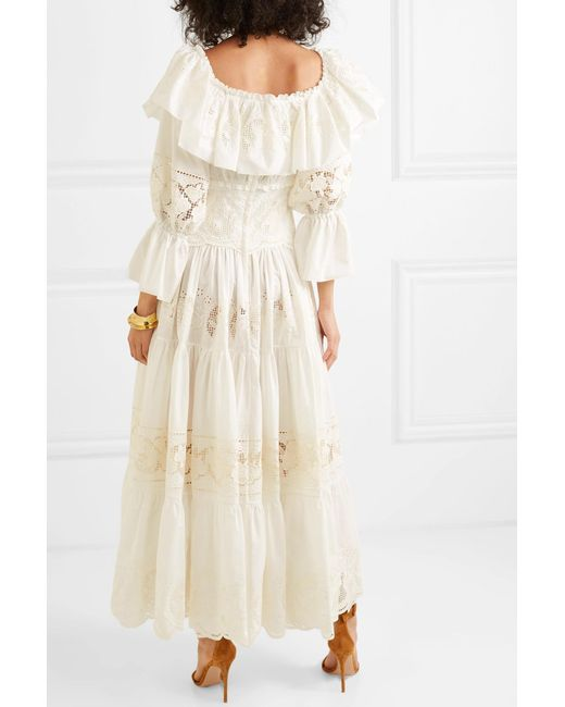 7b1e35fe666aef ... Dolce   Gabbana - White Off-the Shoulder Tiered Broderie Anglaise Cotton-blend  Poplin ...