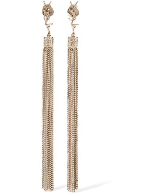 Saint Laurent - Metallic Gold-plated Tassel Earrings - Lyst