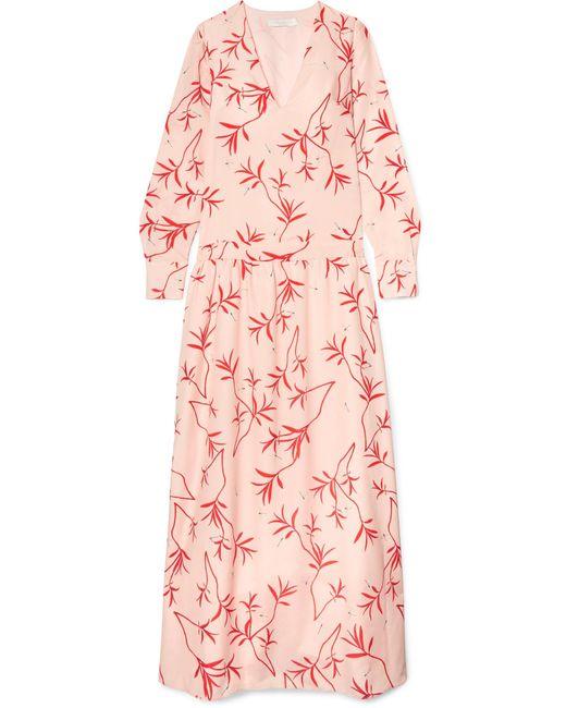 Borgo De Nor - Pink Anya Printed Crepe De Chine Maxi Dress - Lyst