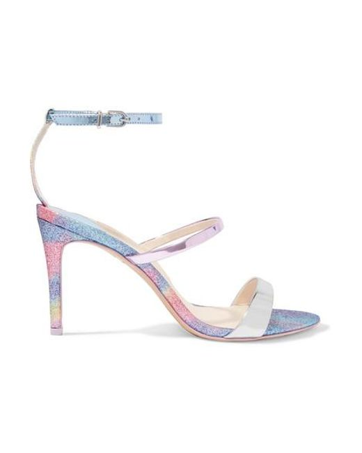 Sophia Webster Blue Rosalind Glittered Mirrored-leather Sandals